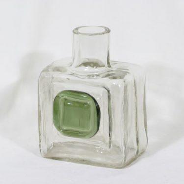 Riihimäen lasi Nappi koristepullo, kirkas, suunnittelija Helena Tynell, signeerattu