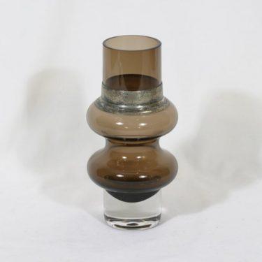 Riihimäen lasi Solmuke maljakko, ruskea, suunnittelija Tamara Aladin, alpakkavanne