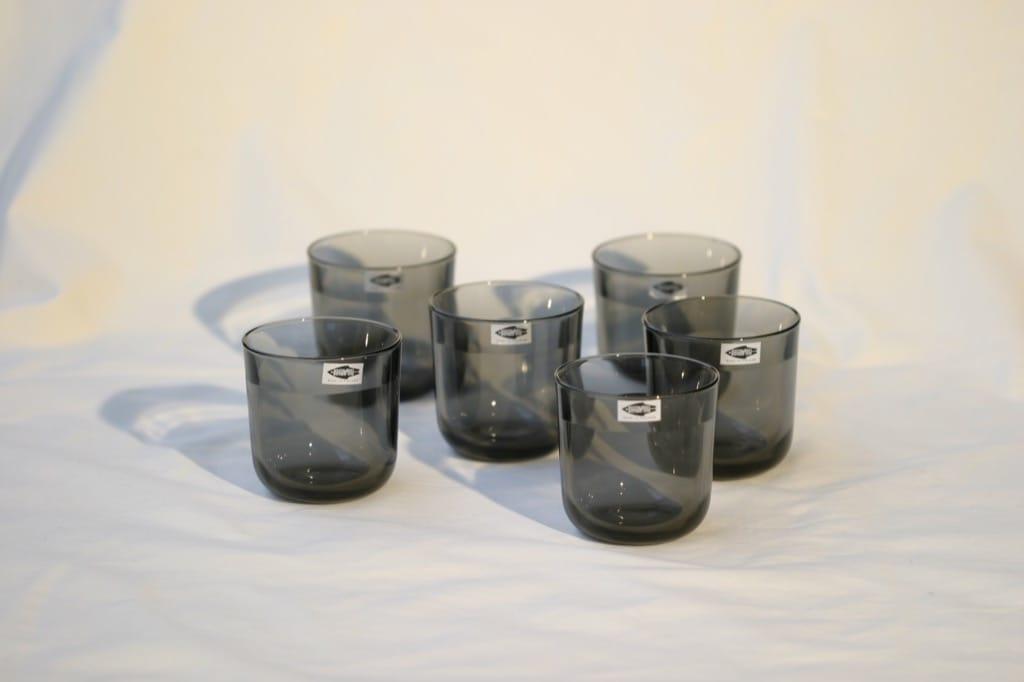 Nuutajärvi Fasetti lasit, harmaa, 6 kpl, suunnittelija Kaj Franck,