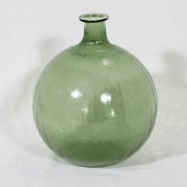 Riihimäen lasi Neptuna kukkapullo, vihreä, suunnittelija Nanny Still, suuri, pyöreä