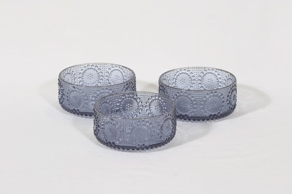Riihimäen lasi Grapponia kulhot, siniharmaa, 3 kpl, suunnittelija Nanny Still,