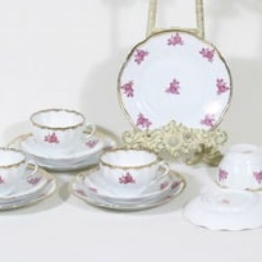 Arabia OB kahvikupit ja lautaset, 4 kpl, suunnittelija Greta-Lisa Jäderhol-Snellman, siirtokuva, reunakultaus