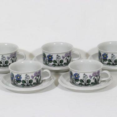 Arabia Flora teekupit, 5 kpl, suunnittelija Esteri Tomula, serikuva