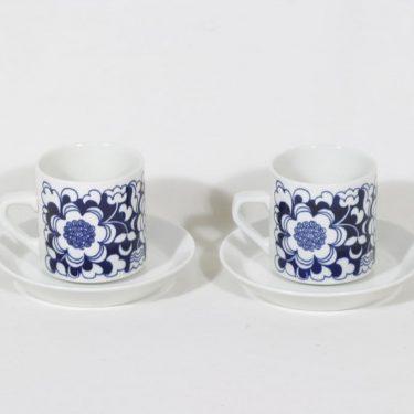 Arabia Gardenia kahvikupit, sininen, 2 kpl, suunnittelija Esteri Tomula, serikuva