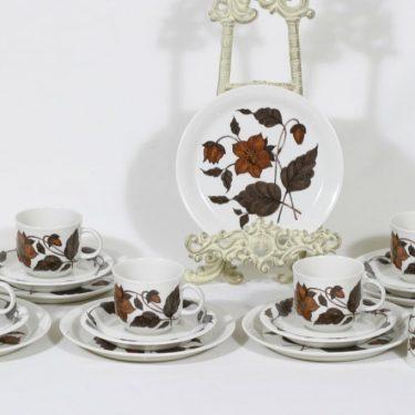 Arabia Cafe kahvikupit ja lautaset, 6 kpl, suunnittelija Gunvor Olin-Grönqvist, serikuva