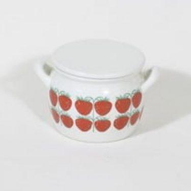 Arabia Pomona ruukku, mansikka, suunnittelija Raija Uosikkinen, mansikka, serikuva, retro