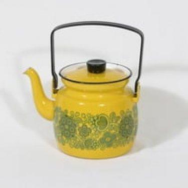 Finel Primavera kahvipannu, keltainen, suunnittelija Raija Uosikkinen, pieni, serikuva, retro