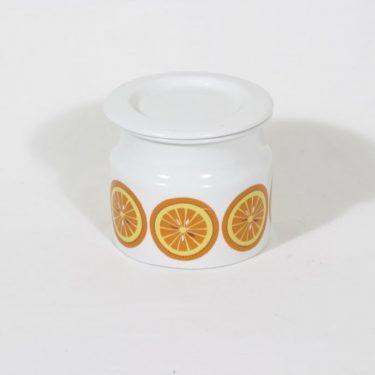 Arabia Pomona purnukka, appelsiini, suunnittelija Raija Uosikkinen, appelsiini, serikuva, retro