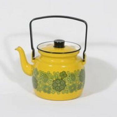 Finel Primavera kahvipannu, keltainen, suunnittelija Raija Uosikkinen, suuri, serikuva