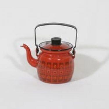 Finel Primavera kahvipannu, punainen, suunnittelija Raija Uosikkinen, pieni, serikuva