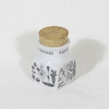 Arabia maustekuvio maustepurkki, pippuri, suunnittelija Esteri Tomula, pippuri, serikuva