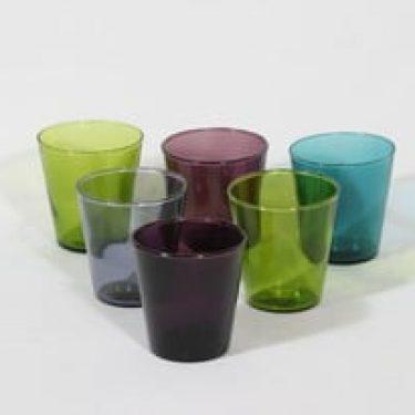Nuutajärvi Viola lasit, eri värejä, 6 kpl, suunnittelija Kaj Franck,
