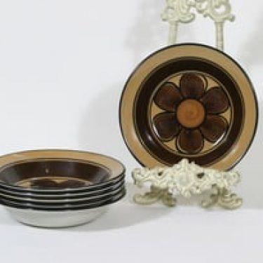 Arabia Kalevala lautaset, syvä, 6 kpl, suunnittelija Anja Jaatinen-Winquist, syvä, käsinmaalattu, signeerattu, retro