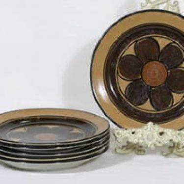 Arabia Kalevala lautaset, matala, 6 kpl, suunnittelija Anja Jaatinen-Winquist, matala, käsinmaalattu, signeerattu, retro