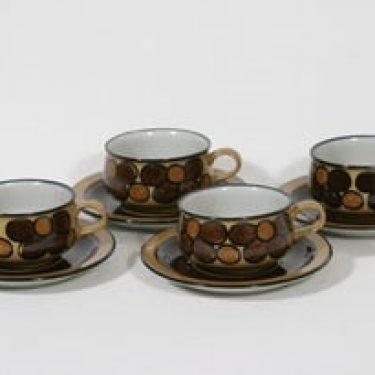 Arabia Kalevala kahvikupit, käsinmaalattu, 4 kpl, suunnittelija Anja Jaatinen-Winquist, käsinmaalattu, signeerattu, retro