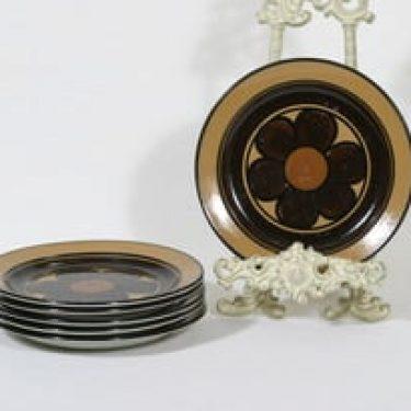 Arabia Kalevala lautaset, käsinmaalattu, 6 kpl, suunnittelija Anja Jaatinen-Winquist, käsinmaalattu, pieni, signeerattu, retro