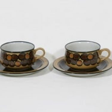 Arabia Kalevala teekupit, käsinmaalattu, 2 kpl, suunnittelija Anja Jaatinen-Winquist, käsinmaalattu, signeerattu, retro
