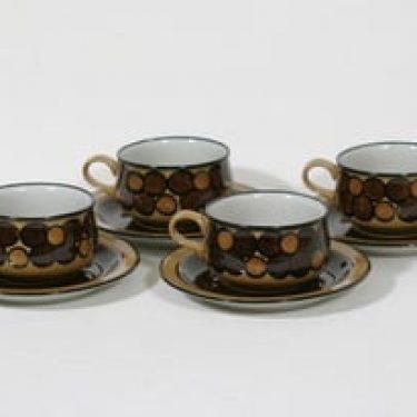 Arabia Kalevala teekupit, käsinmaalattu, 4 kpl, suunnittelija Anja Jaatinen-Winquist, käsinmaalattu, signeerattu, retro