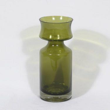Riihimäen lasi Ruusu maljakko, oliivinvihreä, suunnittelija Tamara Aladin,
