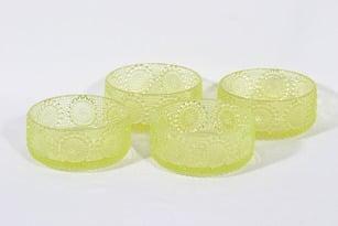 Riihimäen lasi Grapponia annosmaljat, keltainen, 4 kpl, suunnittelija Nanny Still,