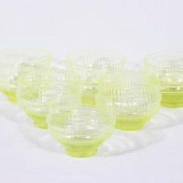 Riihimäen lasi Sulttaani jälkiruokakulhot, keltainen, 6 kpl, suunnittelija Nanny Still,