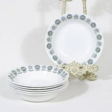 Arabia Olivia lautaset, syvä, 6 kpl, suunnittelija Raija Uosikkinen, syvä, serikuva, retro