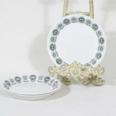 Arabia Olivia lautaset, pieni, 3 kpl, suunnittelija Raija Uosikkinen, pieni, serikuva, retro