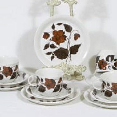 Arabia Tea for two teekupit ja lautaset, ruskea, 4 kpl, suunnittelija Gunvor Olin-Grönqvist, serikuva
