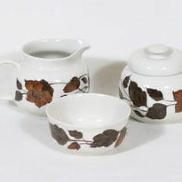 Arabia Tea for two sokerikko, kermakko ja makeisrasia, ruskea, suunnittelija Gunvor Olin-Grönqvist, serikuva