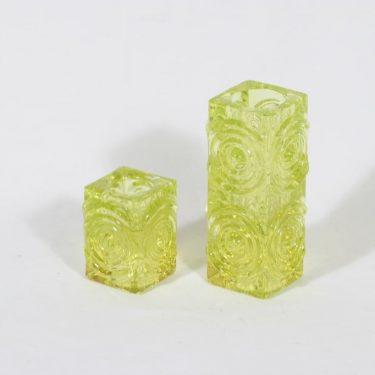 Riihimäen lasi Rengas kynttilänjalat, keltainen, 2 kpl, suunnittelija Tamara Aladin, retro