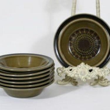 Arabia Kosmos lautaset, syvä, 6 kpl, suunnittelija Gunvor Olin-Grönqvist, syvä, puhalluskoriste, retro