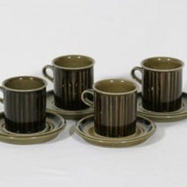 Arabia Kosmos kahvikupit, 4 kpl, suunnittelija Gunvor Olin-Grönqvist, puhalluskoriste, retro