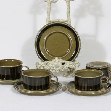 Arabia Kosmos teekupit, 4 kpl, suunnittelija Gunvor Olin-Grönqvist, puhalluskoriste, retro