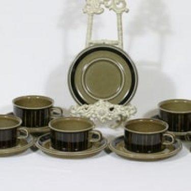 Arabia Kosmos teekupit, 6 kpl, suunnittelija Gunvor Olin-Grönqvist, puhalluskoriste, retro