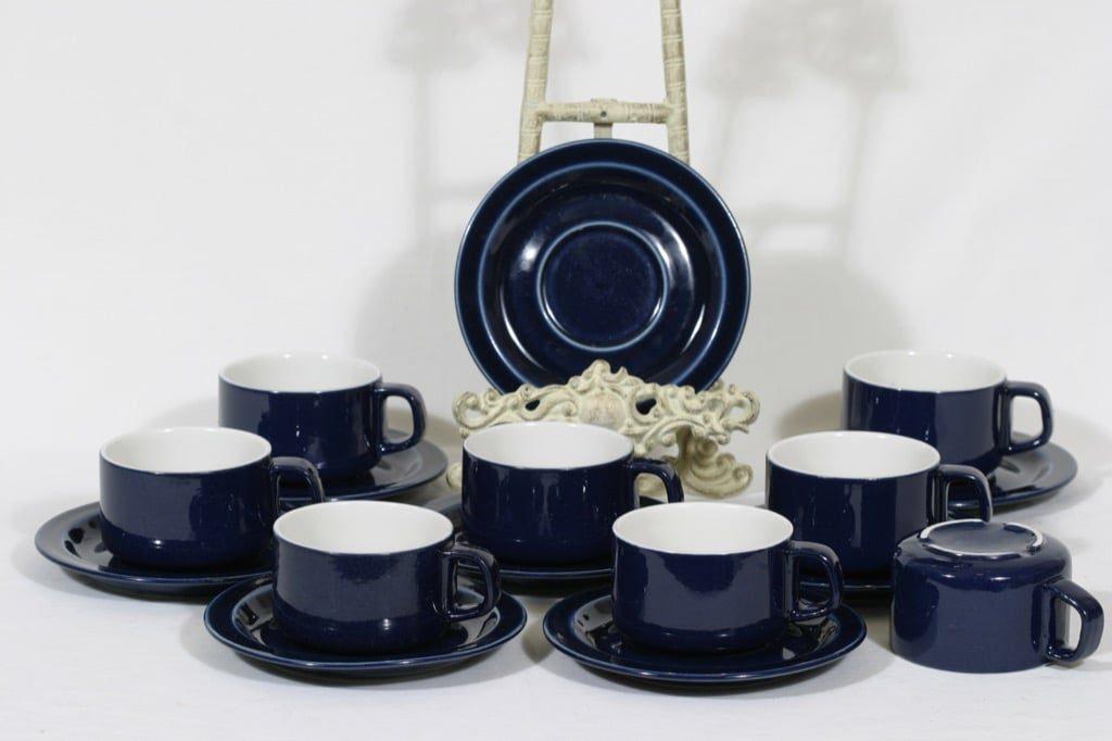 Arabia GB teekupit, sininen, 8 kpl, suunnittelija , koristelematon