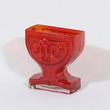 Riihimäen lasi Viktoriana maljakko, punainen, suunnittelija Helena Tynell,