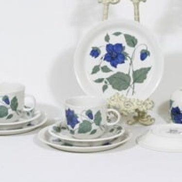 Arabia Tea for two teekupit ja lautaset, sininen, 3 kpl, suunnittelija Gunvor Olin-Grönqvist, serikuva