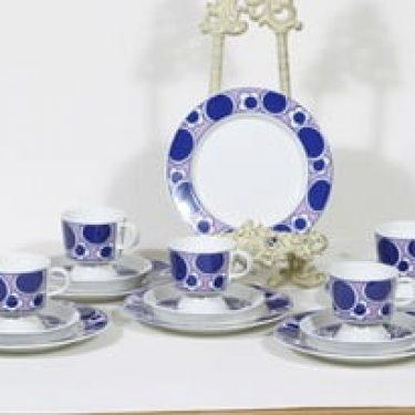 Arabia Pauliina kahvikupit ja lautaset, 6 kpl, suunnittelija Anja Jaatinen-Winquist, serikuva, retro