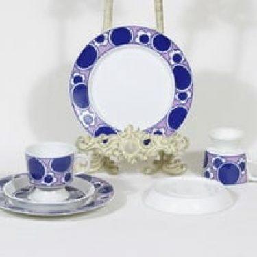 Arabia Pauliina kahvikupit ja lautaset, 2 kpl, suunnittelija Anja Jaatinen-Winquist, serikuva, retro
