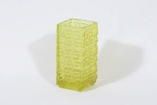 Riihimäen lasi Taalari maljakko, keltainen, suunnittelija Tamara Aladin, massiivinen, retro