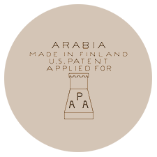 Arabian tehtaan värileima, vientileima: Made in Finland, U.S patent applied for Arabia Porsilnsfabrik Aktiebolag