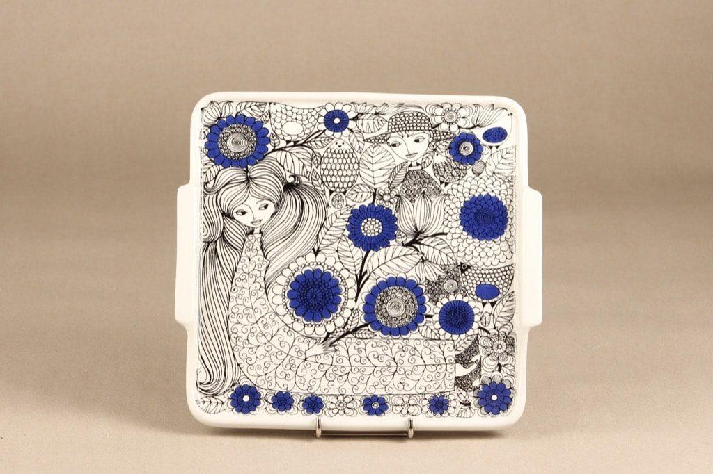 Arabia Pastoraali tarjotin, sininen, suunnittelija Esteri Tomula, satuaihe, serikuva