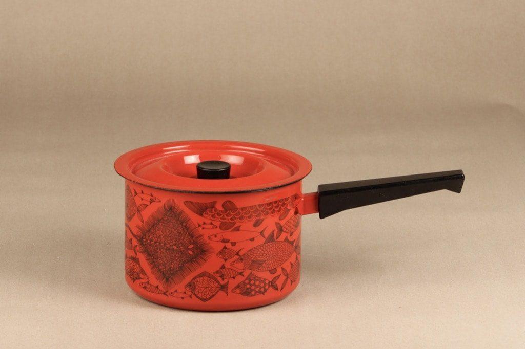 Finel Neptun kasari, punainen, suunnittelija Esteri Tomula, serikuva