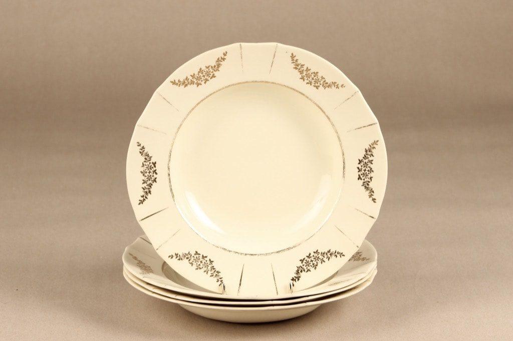 Arabia Irja lautaset, syvä, 4 kpl, suunnittelija , syvä, painettu, kultakoriste