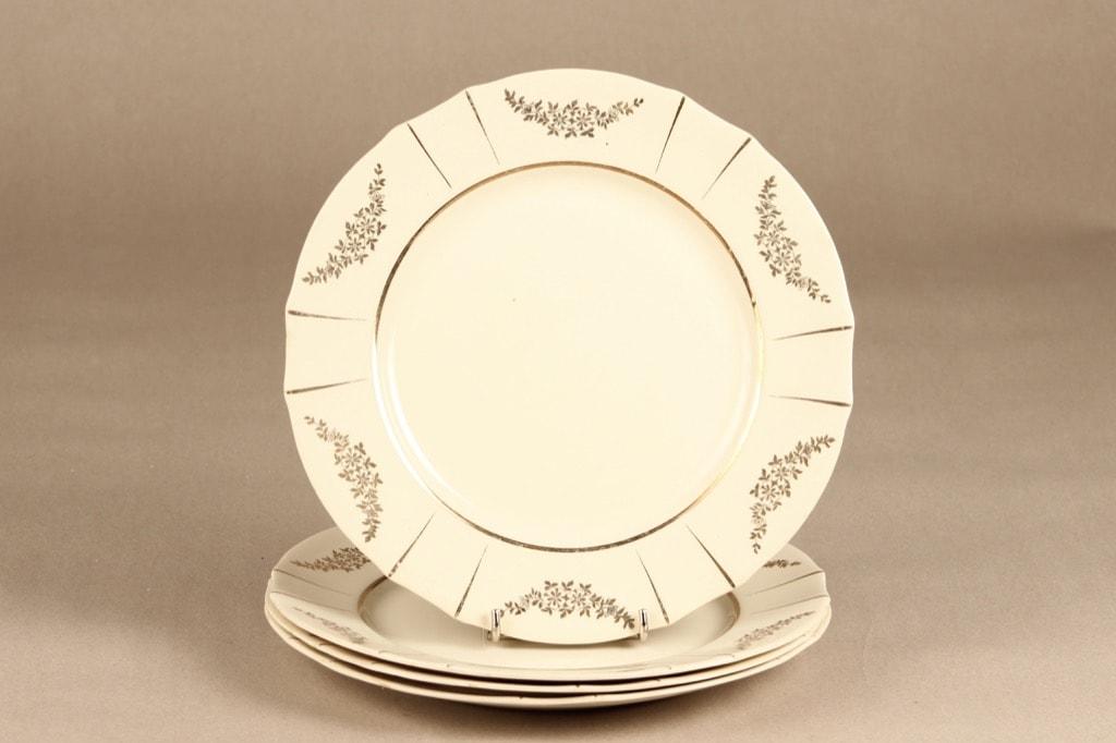 Arabia Irja lautaset, matala, 4 kpl, suunnittelija , matala, painettu, kultakoriste