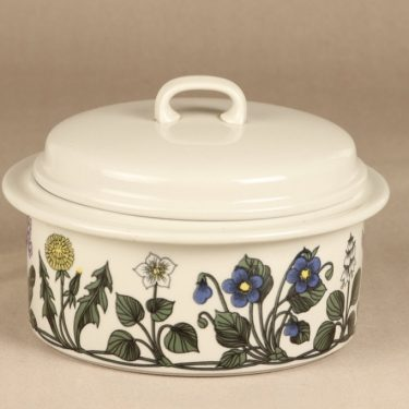 Arabia Flora oven pan, with lid, designer Esteri Tomula, silk screening