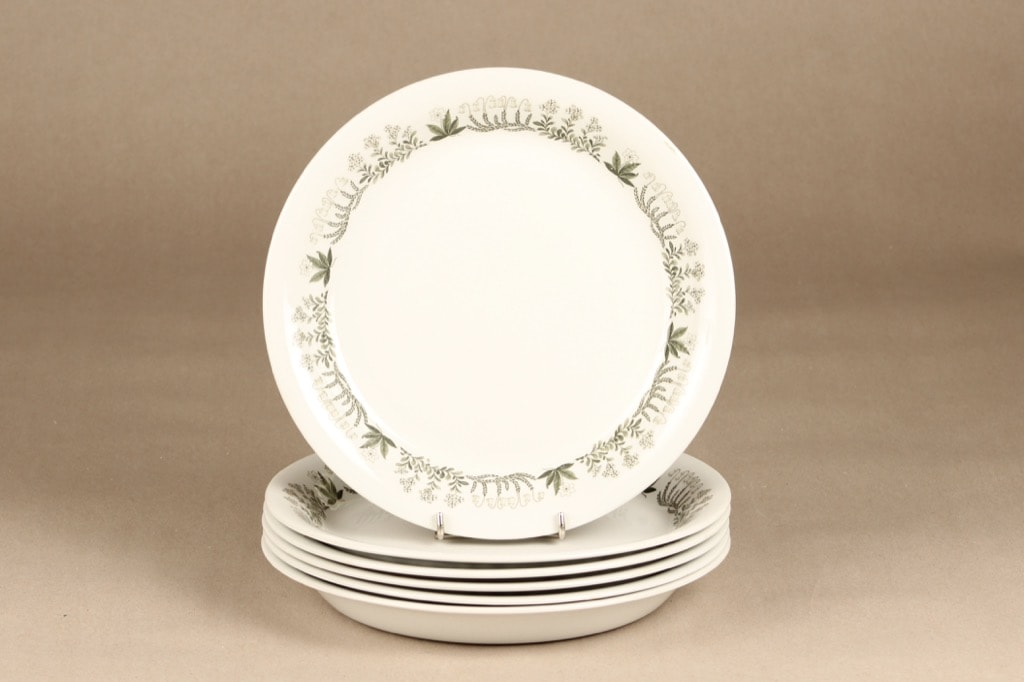 Arabia Polaris lautaset, matalat, 6 kpl, suunnittelija Raija Uosikkinen, matalat, serikuva