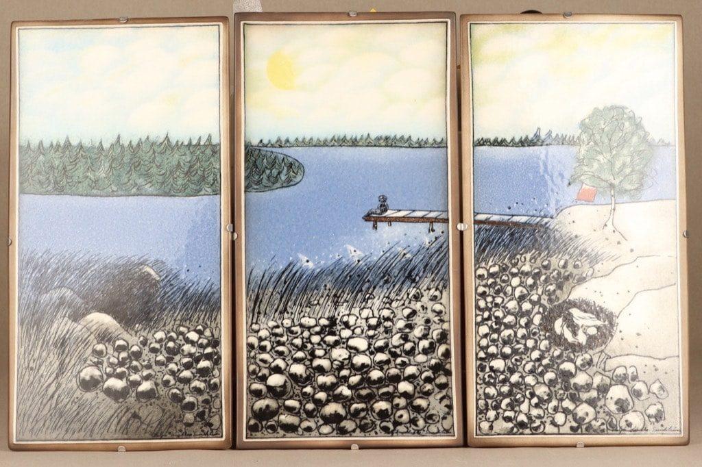 Arabia seinälaatta, Kesä sydämissämme, suunnittelija Heljä Liukko-Sundström, Kesä sydämissämme, triptyykki, serikuva