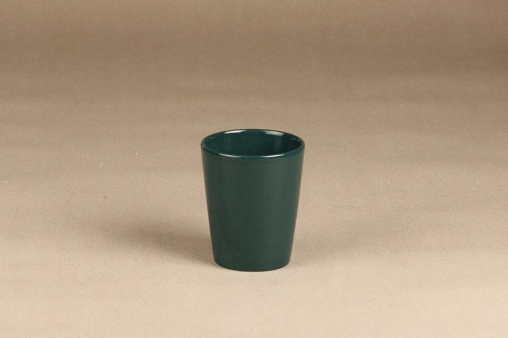 Arabia Kilta muki, vihreä lasite, suunnittelija Kaj Franck, vihreä lasite