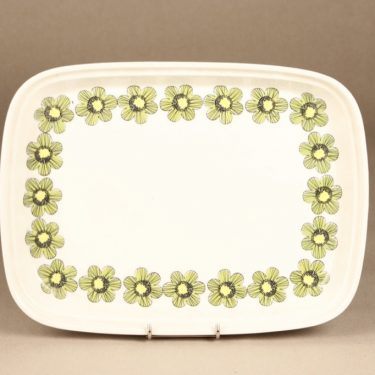 Arabia Primavera platter, green, designer Esteri Tomula, silk screening, flower theme